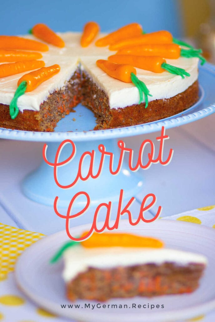 Carrot cake made with a soup moist recipe from spelled flour